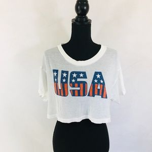 WILDFOX white USA crop top size small short sleeve